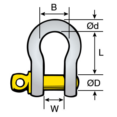 Air & lift Gear - Grade S Shackles Bow - Screw Pin